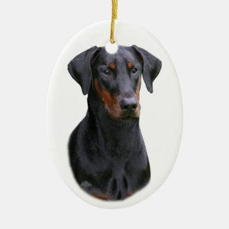 Ornamento natural de los oídos del Pinscher negro  Ornamento De Navidad
