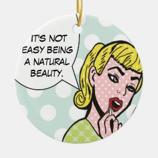 Ornamento natural del cómic de la belleza adorno navideño redondo de cerámica