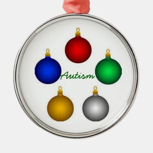 ornamento (navidad del autismo) adorno redondo plateado