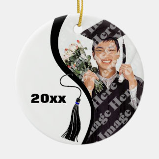 Ornamento negro adaptable de la graduación de la adorno navideño redondo de cerámica