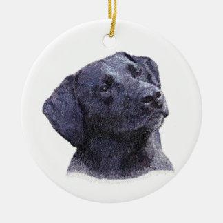 Ornamento negro de Labradore Retreiver Adorno Navideño Redondo De Cerámica