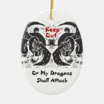 Ornamento negro de los dragones ornamento de navidad