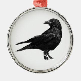 Ornamento negro del cuervo adorno navideño redondo de metal