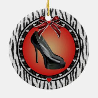 Ornamento negro del estampado de zebra del adorno navideño redondo de cerámica