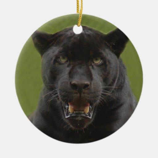 Ornamento negro del navidad de Jaguar Adorno Redondo De Cerámica