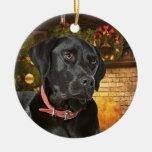 Ornamento negro del navidad del laboratorio adorno navideño redondo de cerámica