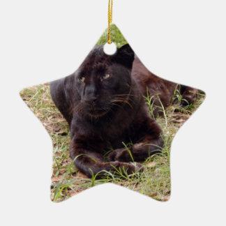 Ornamento negro del navidad del leopardo adornos