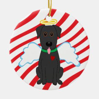 Ornamento negro del perro del navidad del ángel adorno navideño redondo de cerámica