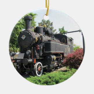 Ornamento negro del tren del motor de vapor adorno navideño redondo de cerámica