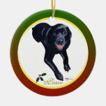 Ornamento negro personalizado de Labrador del navi Ornaments Para Arbol De Navidad