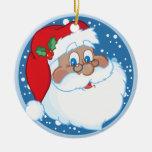 Ornamento negro personalizado del navidad de Santa Ornamento De Reyes Magos