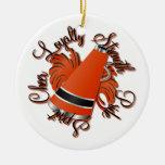 Ornamento negro y anaranjado de la alegría de las  ornaments para arbol de navidad
