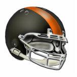 Ornamento negro y anaranjado del casco de fútbol a escultura fotografica