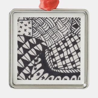 Ornamento negro y blanco 003 del zen adorno navideño cuadrado de metal