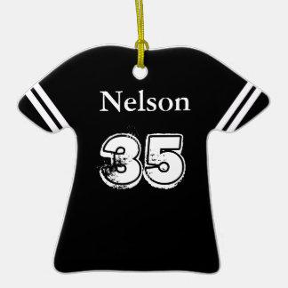 Ornamento negro y blanco de la camiseta de fútbol ornamentos de navidad