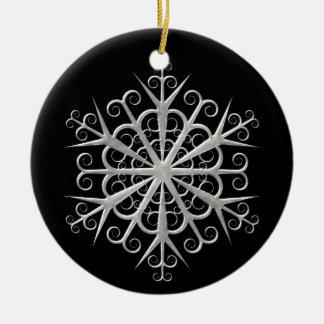 Ornamento negro y de plata del navidad del copo de adorno navideño redondo de cerámica