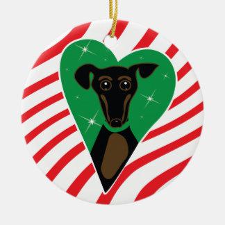 Ornamento negro y del moreno del navidad del perro adorno redondo de cerámica