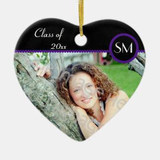 Ornamento negro y púrpura de la graduación de la adorno de cerámica en forma de corazón