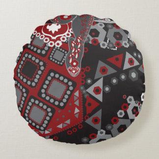 Ornamento negro y rojo cojín redondo