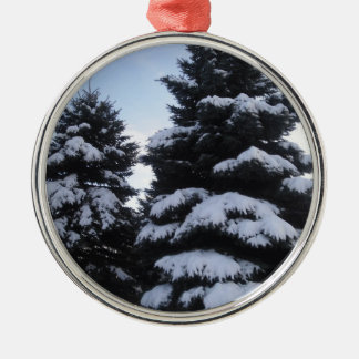 Ornamento nevado de los árboles adorno de navidad