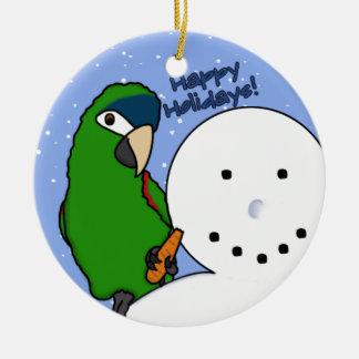 Ornamento noble del Macaw del muñeco de nieve Adorno Navideño Redondo De Cerámica