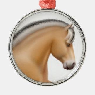 Ornamento noruego orgulloso del caballo del fiordo adorno navideño redondo de metal