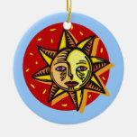 Ornamento observado azul de Sun Adorno De Navidad