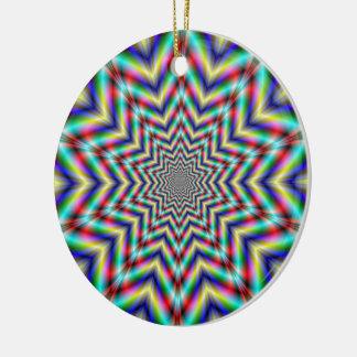 Ornamento ópticamente estimulante de la estrella adorno navideño redondo de cerámica