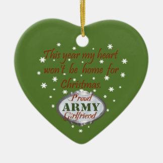 Ornamento orgulloso de la novia del ejército adorno navideño de cerámica en forma de corazón