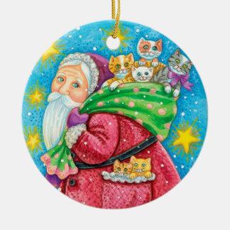 Ornamento original del navidad del diseño del arte adorno navideño redondo de cerámica