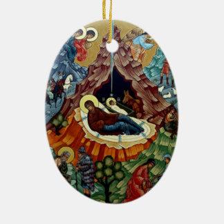 Ornamento ortodoxo del navidad del icono de la adorno navideño ovalado de cerámica