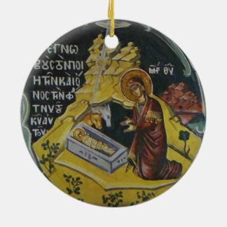 Ornamento ortodoxo del navidad del icono de la adorno navideño redondo de cerámica