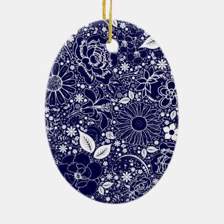ORNAMENTO OVAL azul de las bellezas botánicas Ornamento De Reyes Magos