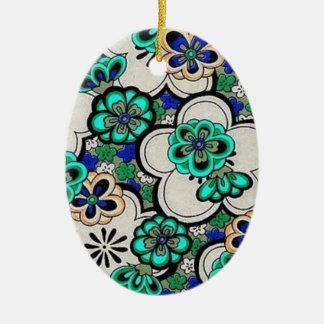 Ornamento oval azul del trullo abstracto retro de adorno