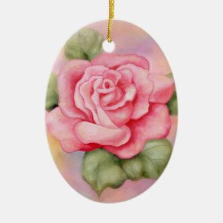 Ornamento oval color de rosa rosado ornamento de navidad