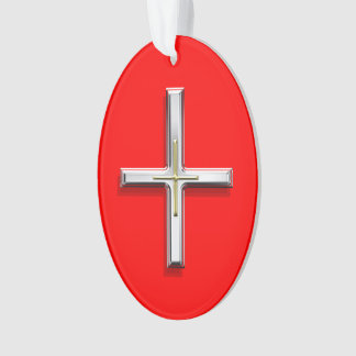 Ornamento oval de acrílico cruzado