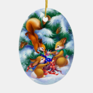 Ornamento oval de cerámica de los animales lindos adorno navideño ovalado de cerámica