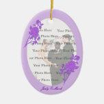 Ornamento oval de encargo de la flor púrpura ornamentos de navidad
