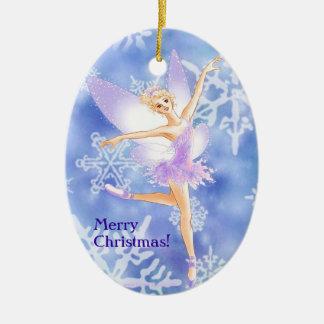 Ornamento oval del ballet de hadas de la nieve adorno navideño ovalado de cerámica