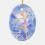 Ornamento oval del ballet de hadas de la nieve (pe ornaments para arbol de navidad