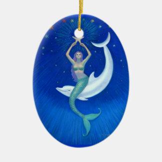 Ornamento oval del navidad de la sirena de la luna adorno ovalado de cerámica