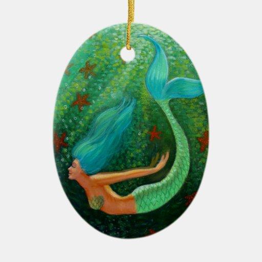 Ornamento oval del navidad del arte de la fantasía adorno navideño ovalado de cerámica