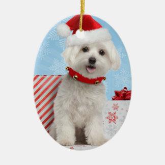 Ornamento oval del navidad del perrito maltés adorno navideño ovalado de cerámica