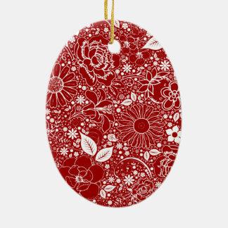 Ornamento oval rojo de las bellezas botánicas adornos