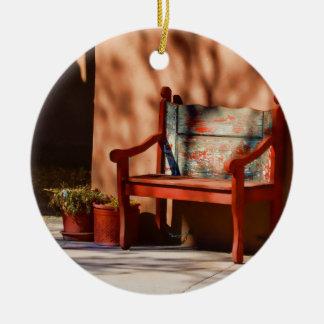 Ornamento pacífico adorno navideño redondo de cerámica