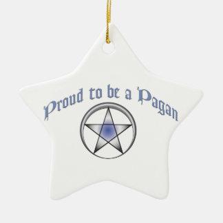 Ornamento pagano azul de encargo de la estrella adorno navideño de cerámica en forma de estrella