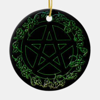 Ornamento pagano del pentáculo del elemento de la adorno navideño redondo de cerámica