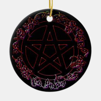Ornamento pagano del pentáculo del elemento del adorno navideño redondo de cerámica