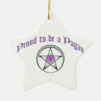 Ornamento pagano púrpura de encargo de la estrella adorno navideño de cerámica en forma de estrella