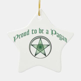 Ornamento pagano verde de encargo de la estrella adorno navideño de cerámica en forma de estrella